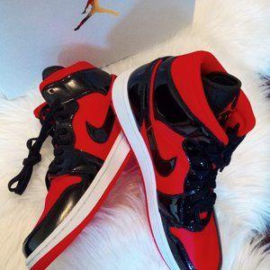 New Air Jordan 1 Mid Red Satin Black Patent US 10